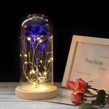 Simulatie rozen lichten glazen cover decoraties ambachten valentines dag geschenken (blauw)