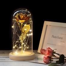 Simulatie rozen lichten glazen cover decoraties ambachten valentines dag geschenken (goud)