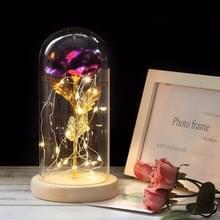 Simulatie rozen lichten glazen cover decoraties ambachten valentines dag geschenken (paars)
