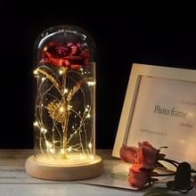Simulatie rozen lichten glazen cover decoraties ambachten valentines dag geschenken (rood)