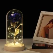 Simulatie rozen lichten glazen cover decoraties ambachten valentines dag geschenken (goud folie Rose blauw)