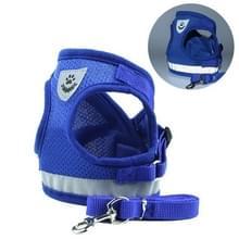 Verstelbare polyester mesh reflecterende vest lood riem voor huisdier hond  grootte: L (blauw)