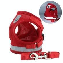 Verstelbare polyester mesh reflecterende vest lood riem voor huisdier hond  grootte: XL (rood)