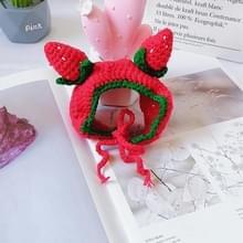 Schattige Strawberry Headgear Handgemaakte Gebreide Hoed Pet Accessoires  Grootte: M