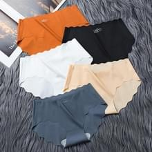 4 PCS / Set Non-trace Ice Silk Slipje Female Pure Cotton Crotch Antibacterial Mid-Waist Breathable Girl Briefs  Size: XL (Black+Caramel+Flesh Color+White)