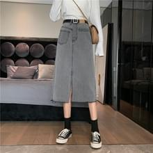 High-Waist Slit Mid-length Raw Denim Bag Hip Skirt  Maat: L(Grijs)