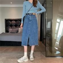 High-Waist Slit Mid-length Raw Denim Bag Hip Skirt  Maat: L(Blauw)