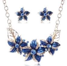 Crystal emaille bloem Sieraden sets voor vrouwen (blauw)