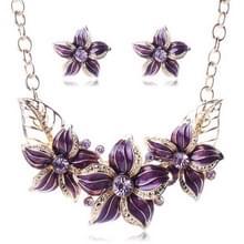 Crystal emaille bloem Sieraden sets voor vrouwen (paars)