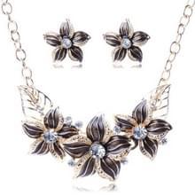 Crystal emaille bloem Sieraden sets voor vrouwen (zwart)