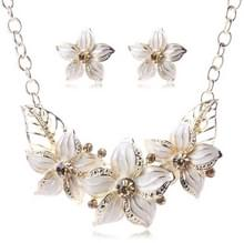 Kristalglazuur bloem Sieraden sets voor vrouwen (wit)