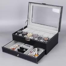 PU Lederen 12-bits horlogedoos dubbellaags sieradenbox opbergdoos(Zwart)