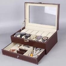 PU Lederen 12-bits horlogedoos dubbellaags sieradenbox opbergdoos (Bruin)