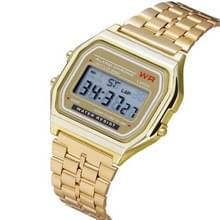 Mannen sport horloges militaire Quartz LED digitale waterdichte Quartz gouden vrouwen mannen horloge (goud)