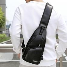 Waterdichte Leisure PU lederen één schoudertas mannen borst tas met USB-Oplaadpoort en hoofdtelefoon opening (zwart)