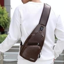 Waterdichte Leisure PU lederen één schoudertas mannen borst tas met USB-Oplaadpoort en hoofdtelefoon opening (donker bruin)