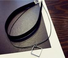 2 PC'S vrouwen sleutelbeen choker Neckband nek ketting korte ketting sieraden (zilver vierkant)