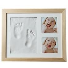 Baby hand voetafdruk Mold Maker massief houten fotolijst met cover vingerafdruk modder set (wit)