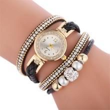 Duoya D249 geweven twisted parels ronde analoge Quartz pols armband horloge voor dames (zwart)