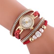 Duoya D249 geweven twisted parels ronde analoge Quartz pols armband horloge voor dames (rood)