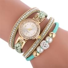 Duoya D249 geweven twisted parels ronde analoge Quartz pols armband horloge voor dames (groen)