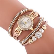 Duoya D249 geweven twisted parels ronde analoge Quartz pols armband horloge voor dames (beige)