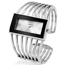 WAT2008 legering armband horloge creatieve rechthoekige wijzerplaat quartz horloge voor vrouwen (zilver + wit)