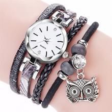 2 stuks dames kleine wijzerplaat cirkel uil hanger armband horloge (zwart)