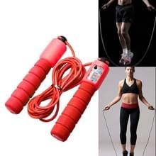 Springen touwen met Counter sport fitness verstelbare snelle snelheid tellen Jump Skip touw skipping Wire (rood)