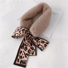 Kaki + beige winter vrouwen pluche warme sjaal met Luipaard lint  grootte: 160 x 9cm