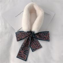 Wit + marine winter vrouwen pluche warme sjaal met Luipaard lint  grootte: 160 x 9cm