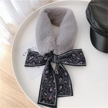 Grijs + grijs winter vrouwen pluche warme sjaal met Luipaard lint  grootte: 160 x 9cm