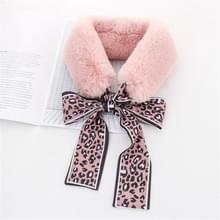 Roze + roze winter vrouwen pluche warme sjaal met Luipaard lint  grootte: 160 x 9cm
