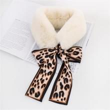 Wit + koffie winter vrouwen pluche warme sjaal met Luipaard lint  grootte: 160 x 9cm