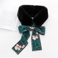 Zwart + groen winter vrouwen pluche warme sjaal met Luipaard lint  grootte: 160 x 9cm