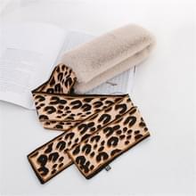 Beige + koffie winter vrouwen pluche warme sjaal met Luipaard lint  grootte: 160 x 9cm