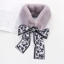 Grijs + wit winter vrouwen pluche warme sjaal met Luipaard lint  grootte: 160 x 9cm