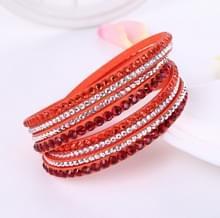 Vrouwen gelaagde lederen Rhinestone Crystal Wrap Bracelets(Orange)