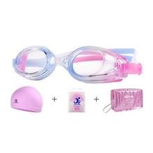 JIEHU JH8102 4 in1 Vrouwen HD transparante anti-mist waterdichte zwembril badmuts set (paarse kleur)
