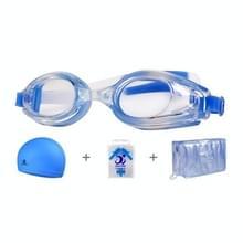 JIEHU JH8102 4 in1 Vrouwen HD transparante anti-mist waterdichte zwembril badmuts set (blauwe kleur)