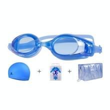 JIEHU JH8102 4 in1 Women HD Transparant Anti-fog Waterproof Swimming Cap Set (Blauw)