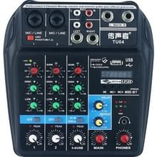 TU04 BT Sound Mixing Console record 48V Phantom Power Monitor AUX paden plus effecten 4 kanalen audio mixer met USB (zwart)