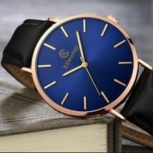 KEMANQI eenvoudige ultradunne waterdichte stalen mesh riem quartz horloge voor mannen (Ultra-Thin Rose Gold shell blauwe wijzerplaat zwarte band)