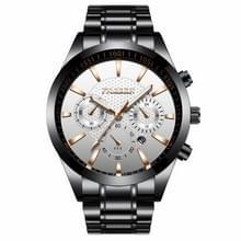 FNGEEN 5012 mannen waterdichte lichtgevende Imitate zes-naald design horloge (zwart staal wit)