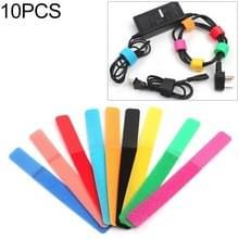 10 PCS Candy-gekleurde power cord haak en lus sluiting strip  random color delivery  grootte: 180 x 20mm