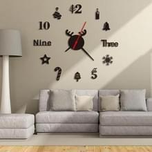 3 PCS Acryl 3D Wall Clock DIY woonkamer slaapkamer muur achtergrond decoratie (Zwart)