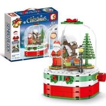 Kerstmis Roterende Lichte Muziekdoos Geassembleerd Bouwstenen Kinderen Vakantie Geschenken  Stijl: Draaiend Huis