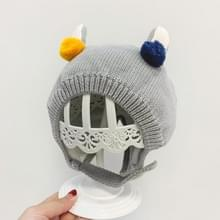 Cute Round Ball Decoration Baby Hat Cotton Knitted Wool Ear Protected Cap  Size: 45-50cm(Gray)