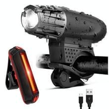 Bike Light USB Oplaadbaar Mountain Bike Waarschuwingslampje  Specificatie: Voorlicht + Achterlicht