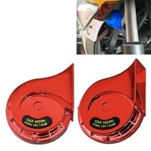 2 PCS / Set 12V Motorcycle Electric Car Modified Mono Horn (Rood)